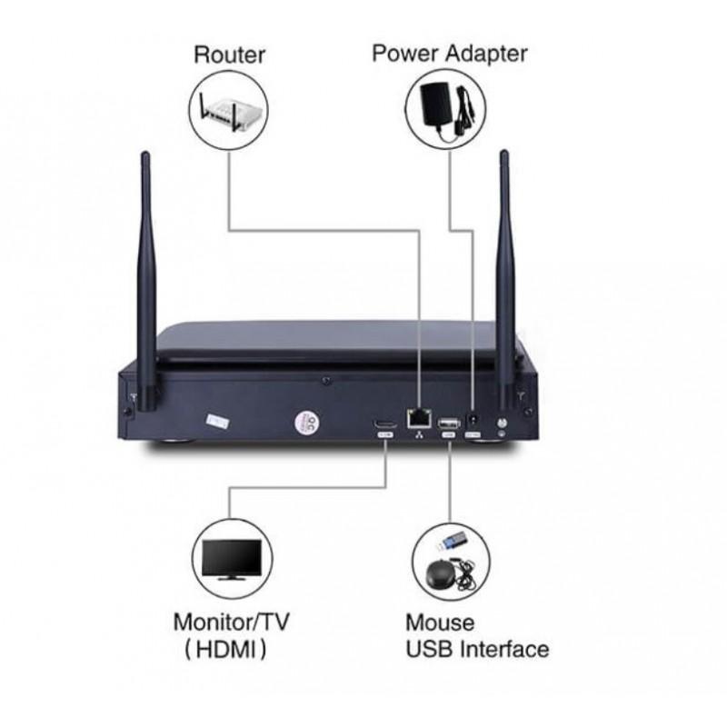 CCTV CAMERA SYSTEM. 4CH DVR. WATERPROOF WIFI IP DIGITAL CAMERA. WIRELESS SURVEILLANCE SYSTEM